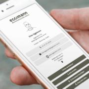Smartphone mit digitaler Visitenkarte